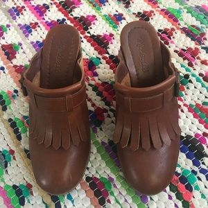 Madewell clogs with leather fringe detail